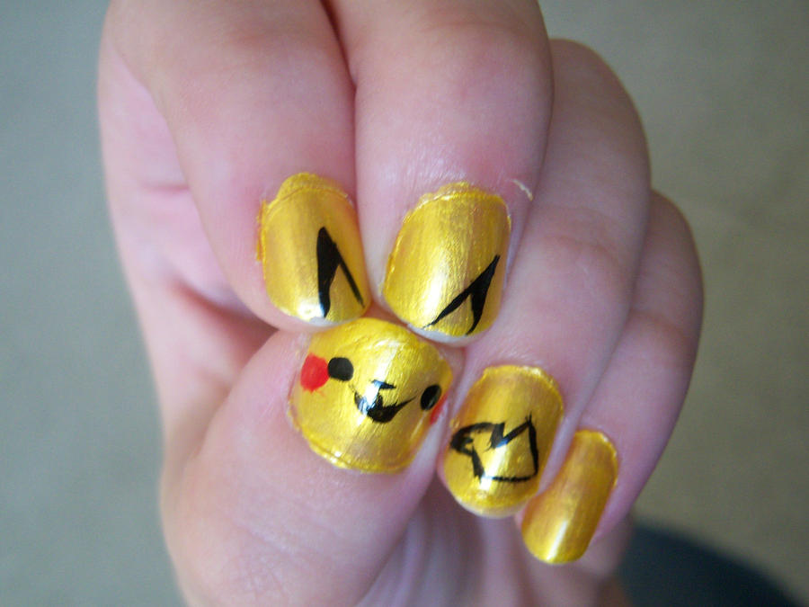 Pikachu Acrylic Nails Pikachu Nails by Danitess on