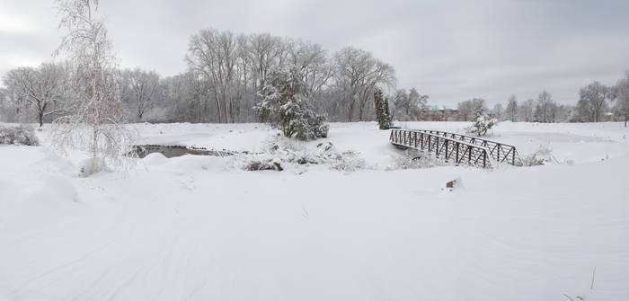 Snowy Bridge Winter Background