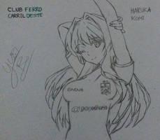 Haruka Koumi - Ferro Carril Oeste (uncolored) by Yuri-SPFC
