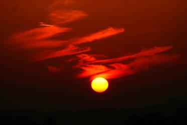 Deep red sunset by DisturbedAzura