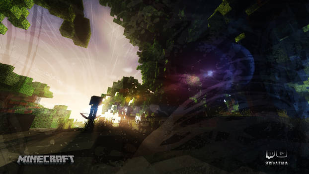 Minecraft forest sunset