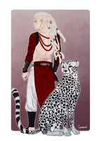 Commission - Arkell and the sheetah by Lowenael