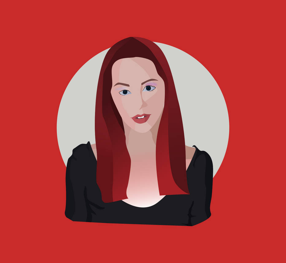 red head girl - vectorial portrait by xxqasimxx