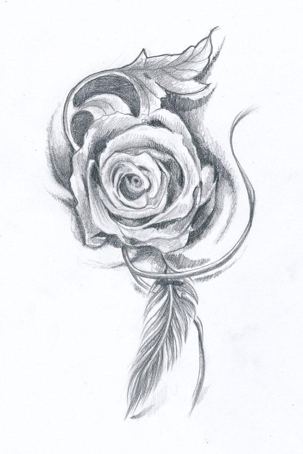 rose tattoo design by klosmagda on deviantart. Black Bedroom Furniture Sets. Home Design Ideas