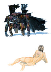robot samurai and girl by redcode77