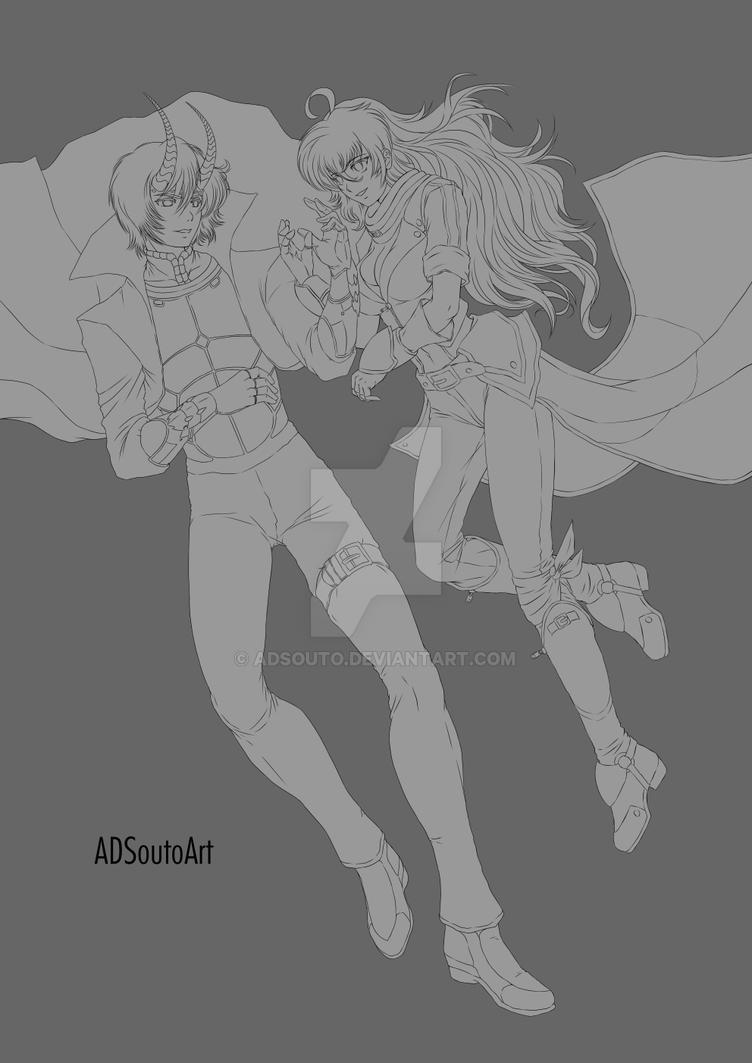 Nero x Yang lineart by ADSouto