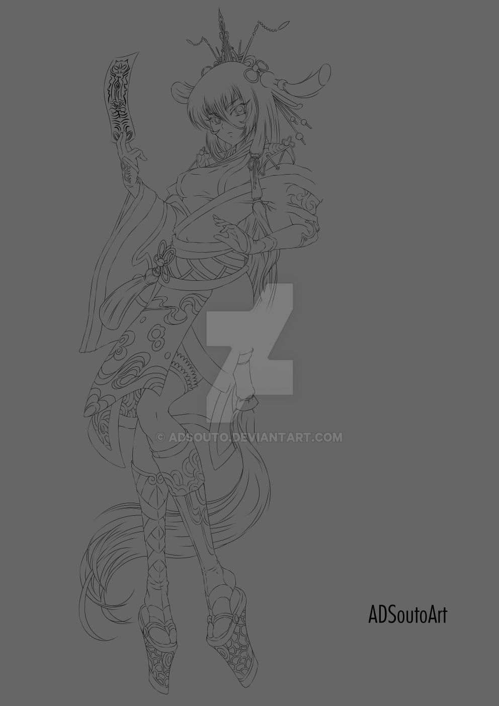 Haruna lineart by ADSouto