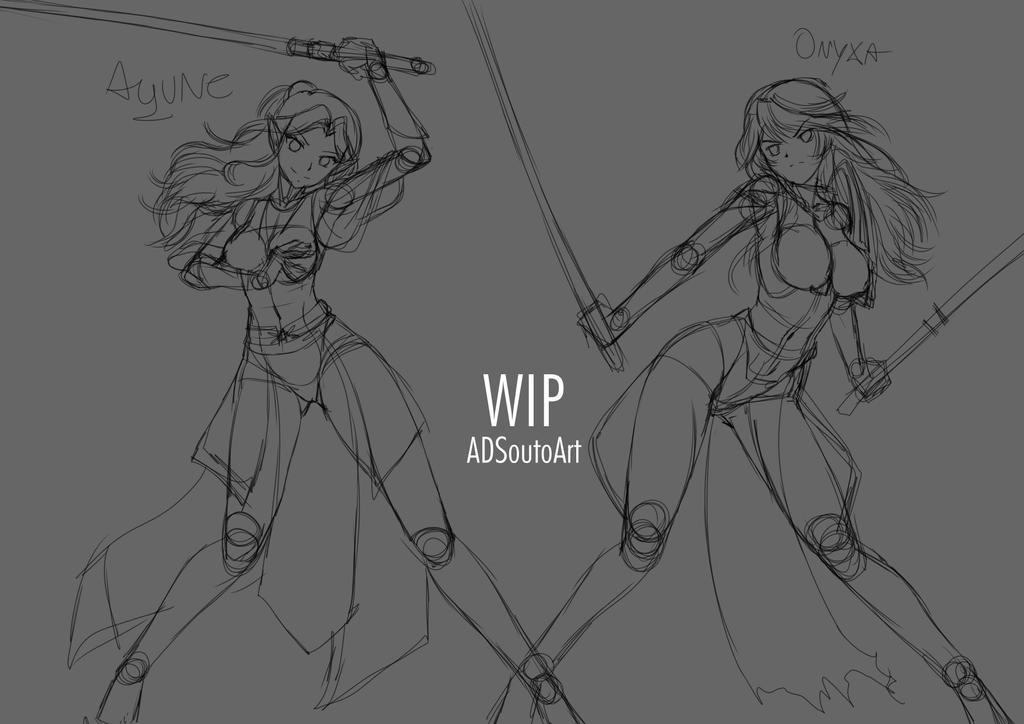 WIP Aqune And Onyxa Sketch by ADSouto