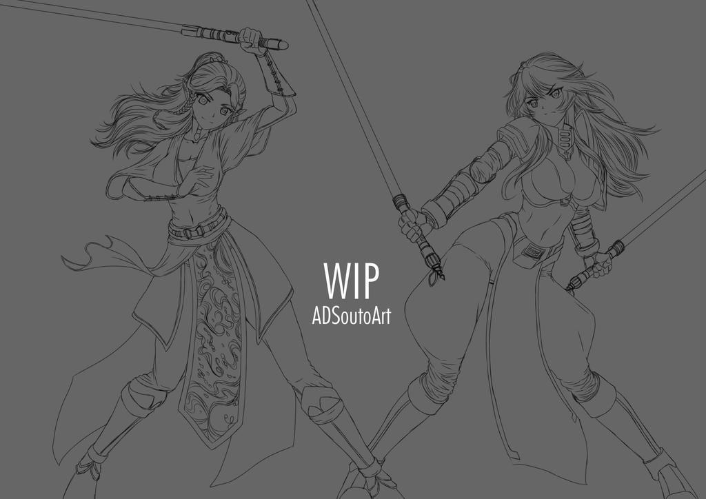 WIP Aqune And Onyxa by ADSouto
