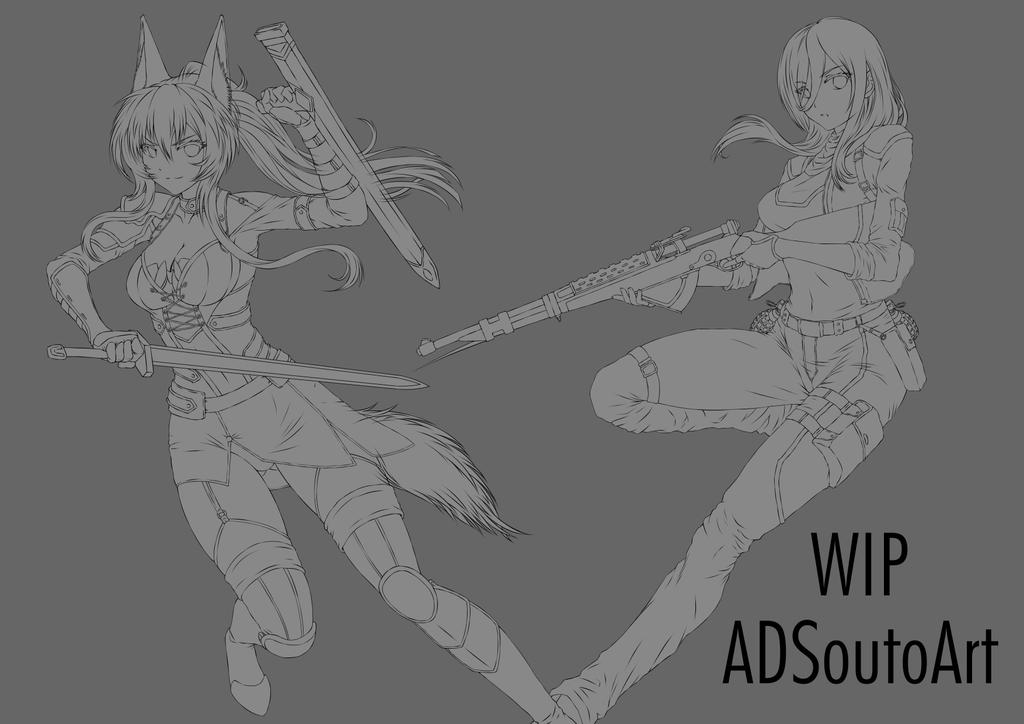 WIP: Claudia and Serah by ADSouto