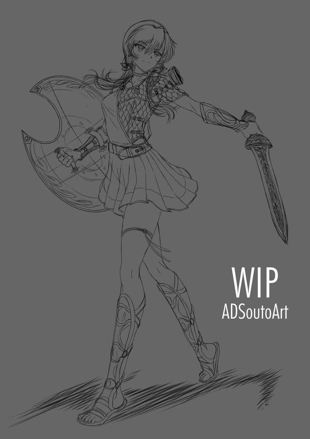 WIP - Myra Hawk, commission by ADSouto
