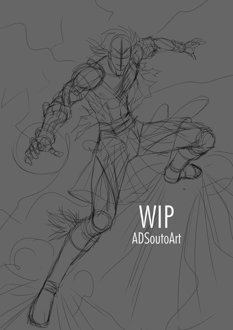 WIP - Rafael Forrester, Sacred Guard, sketch by ADSouto