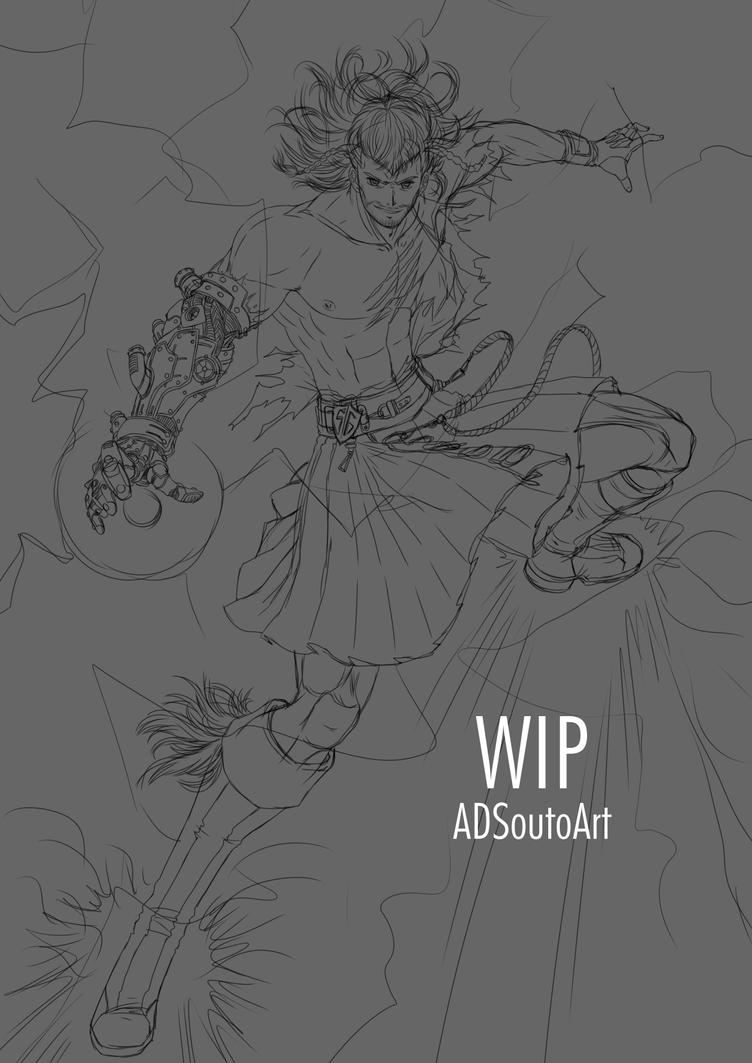 WIP - Rafael Forrester, Sacred Guard / sketch by ADSouto