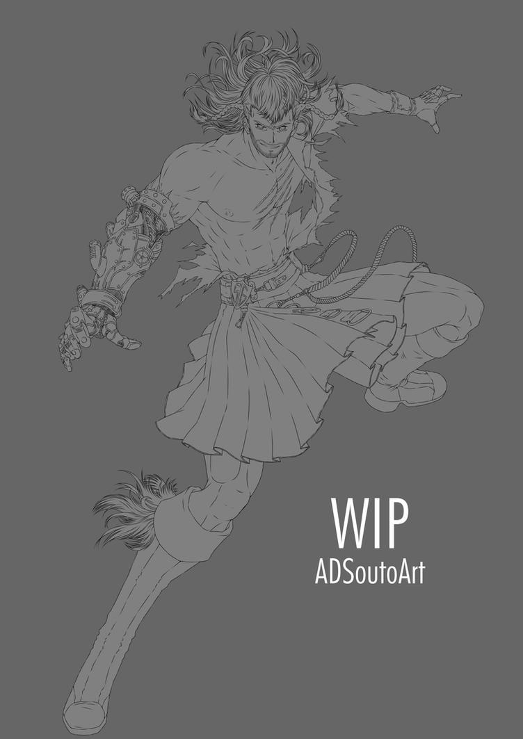 WIP - Rafael Forrester, Sacred Guard / lineart by ADSouto