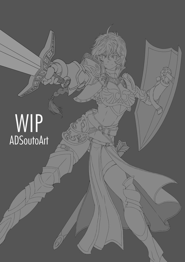 WIP - Amelia Crowguard, lineart by ADSouto