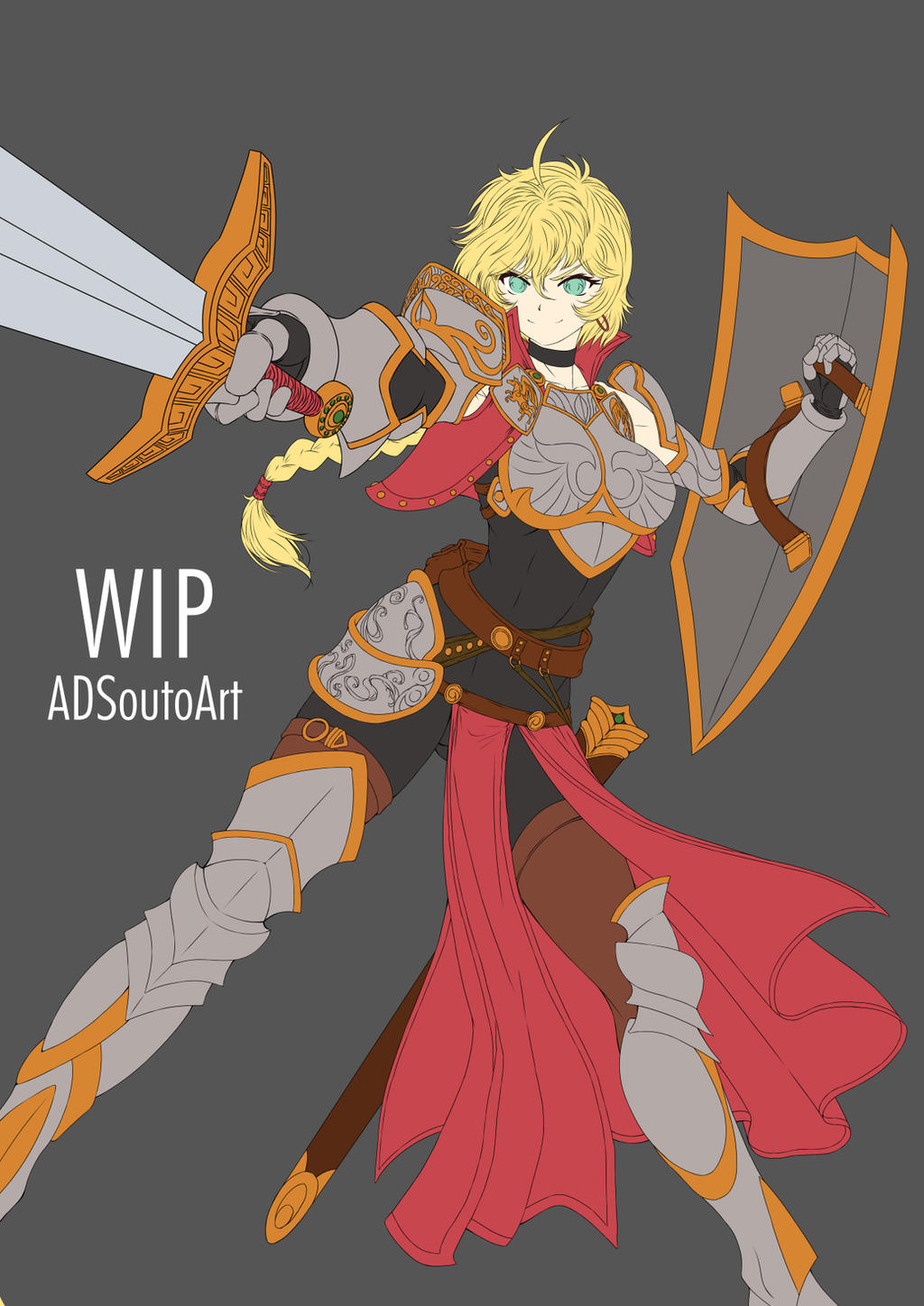 WIP - Amelia Crowguard, Flat colors by ADSouto