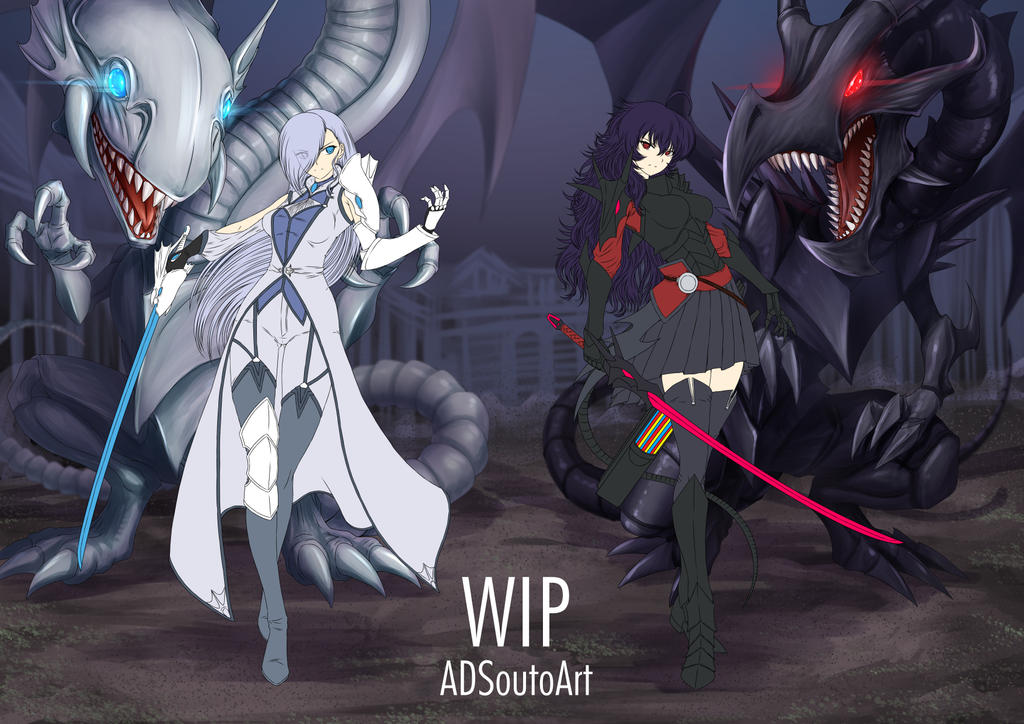 WIP - Winter X Raven, RWBY / Yugioh dragons by ADSouto
