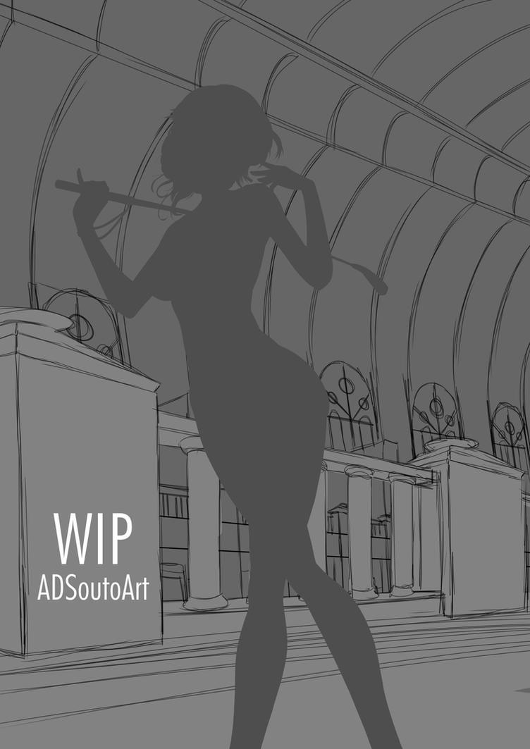WIP - Glynda Goodwitch, BG sketch by ADSouto