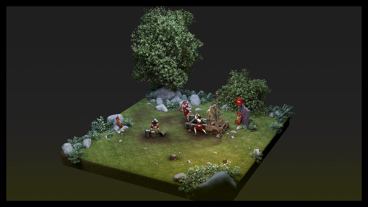 Roman Catapult crew by haloband