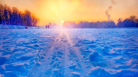 Winter Sunset in Velikiye Luki by dspiridonov by dspiridonov