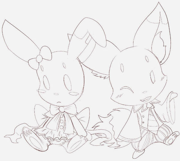 Sweet But Bored Rabbit and Prankster Fox by Yiya-styles