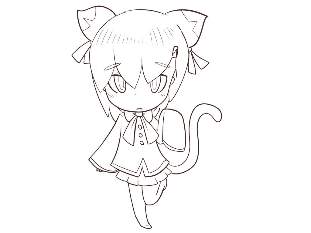 random Chibi kitten girl lineArt by Yiya-styles