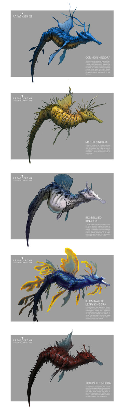 Pokemon Morphology - Kingdra by catandcrown