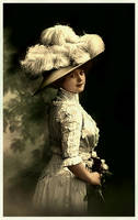 Edwardian lady with flowers boquet by Linnea-Rose