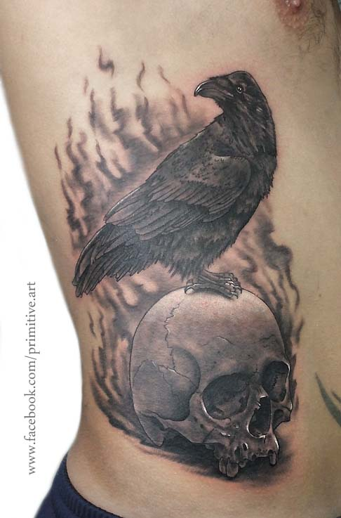 raven and skull by primitive-art