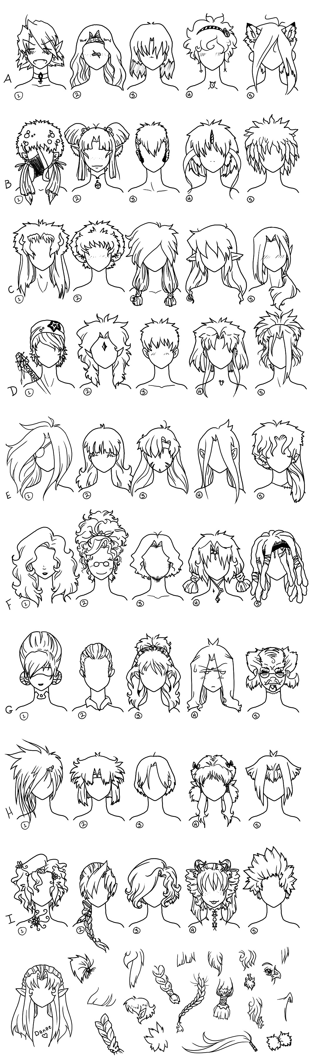 Hair Reference Page 1 by Frenehld on DeviantArt
