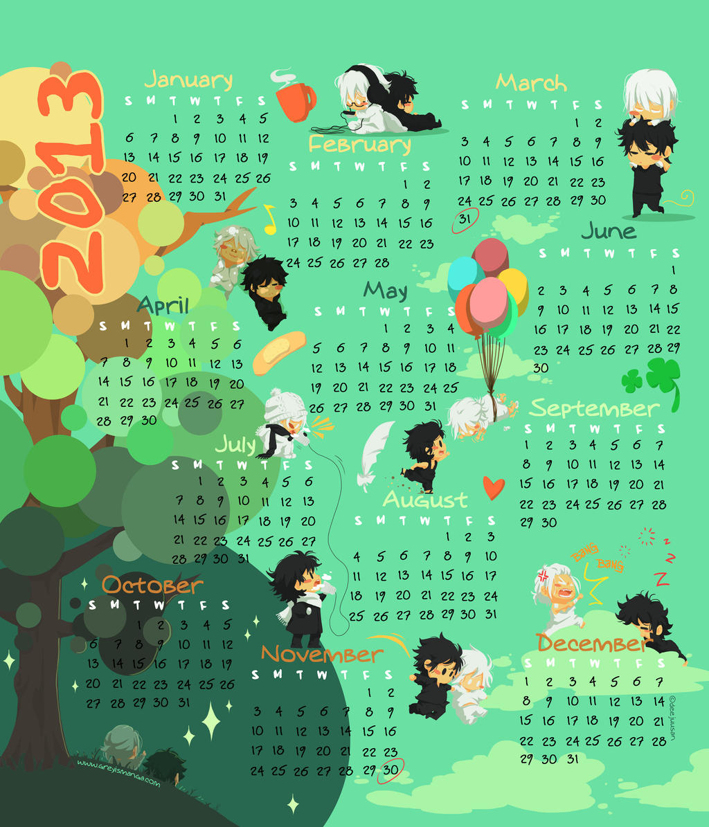 Grey is... 2013 Year Calendar by deeJuusan