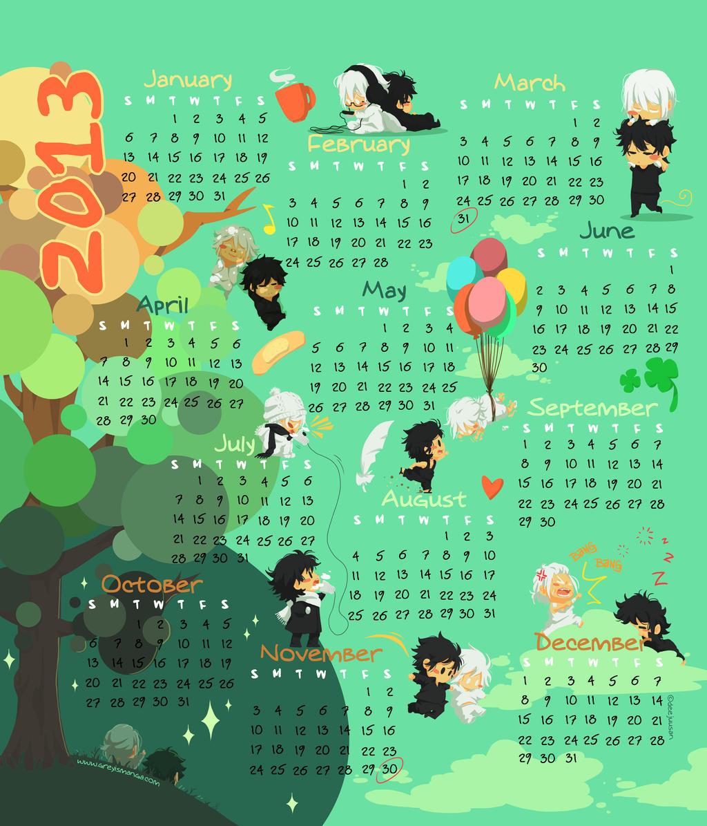 Grey is... 2013 Year Calendar by deeJuusan