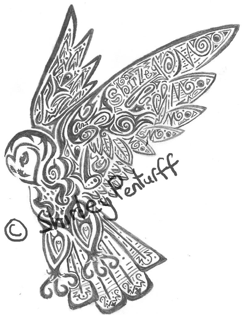 Tribal Owl Drawings By Crimsonbluewolf