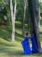 Her robe was blue as summer skies