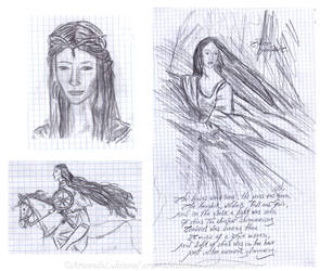 Old work - Luthien, Galadriel and Warrior Queen by ArwendeLuhtiene