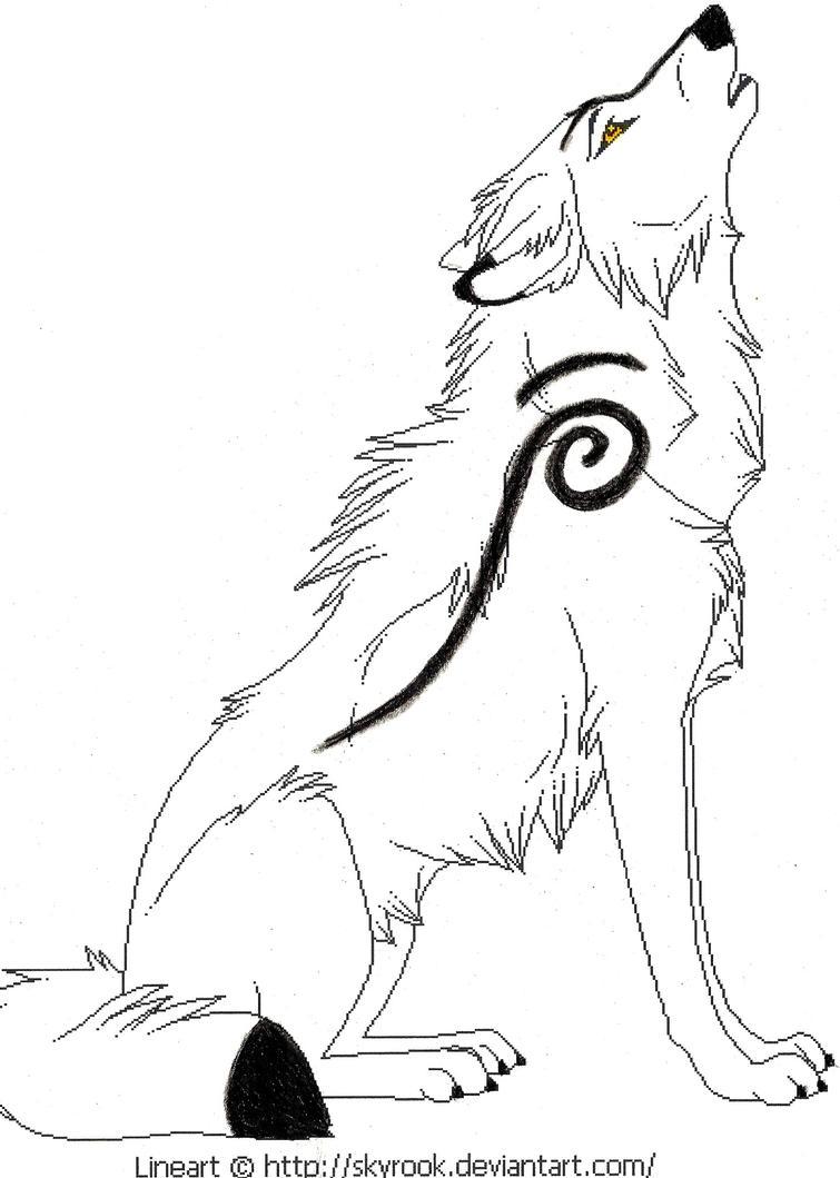Cartoon wolf howling drawings - photo#21