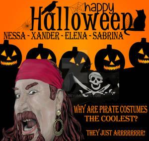 Halloween Card Grand Kids Skull Cross Bones signed