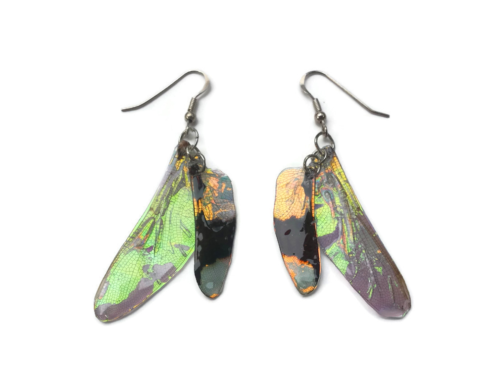 Dragonfly Wing Earrings by KristenJarvisART