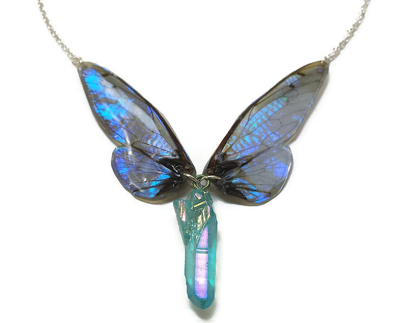 Sapphire Shimmer Wings and Aura Quartz Necklace by KristenJarvisART