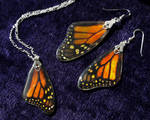 Iridescent Monarch Butterfly Earrings and Necklace