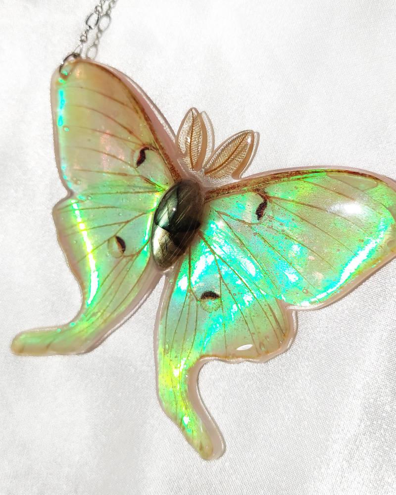 Luna Moth Necklace with Labradorite