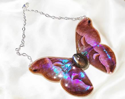 Java Silk Moth with Labradorite Pendant