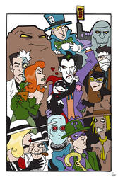 Arkham Line Up Coloured by BlitheFool