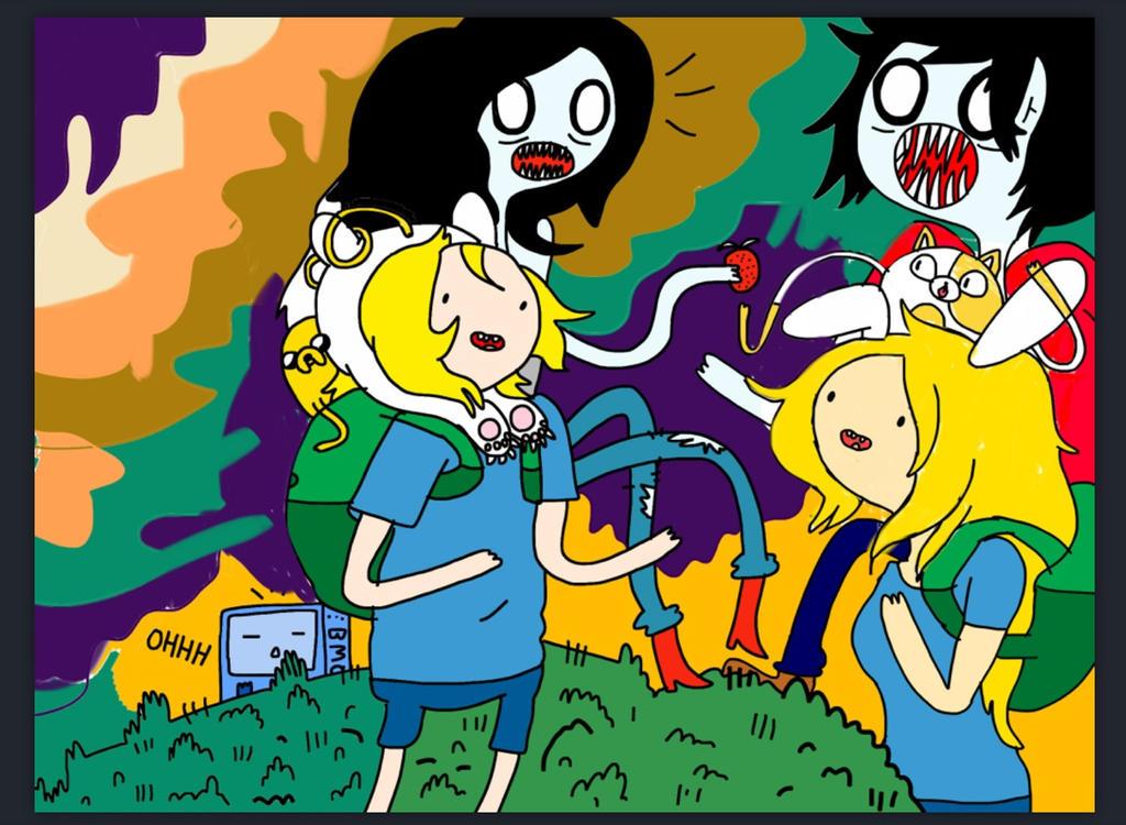 Finn,Jake,Marceline,Fionna,Cake,Marshall Lee,bmo By