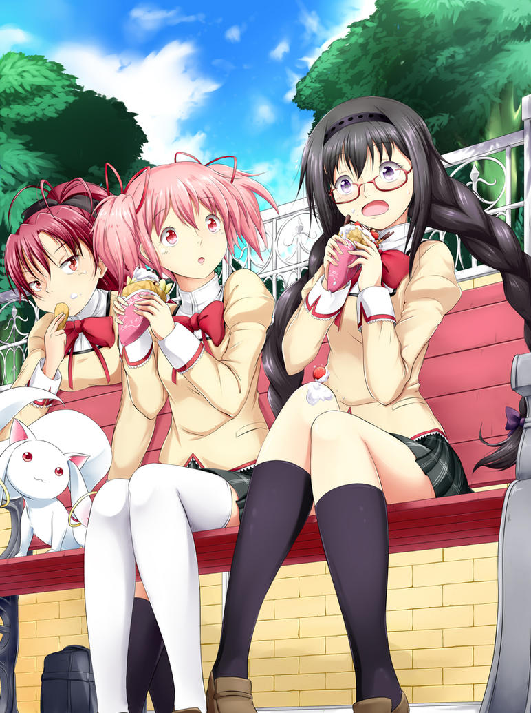 Madoka Magica - Outside with Crepes by YomiTrooper