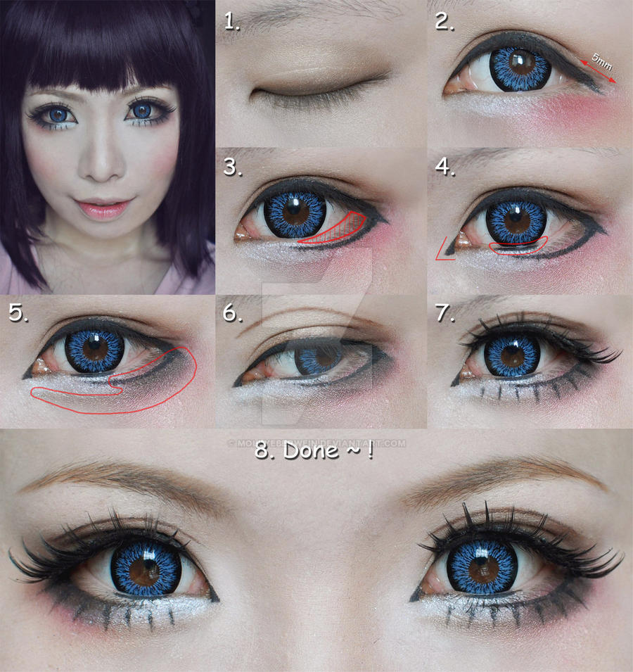 Dolly eyes makeup tutorial - suit for Cosplay by mollyeberwein