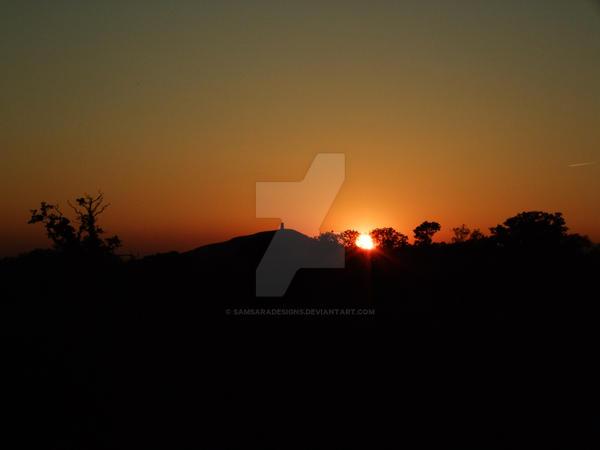 Sunset over Glastonbury Tor by SamsaraDesigns