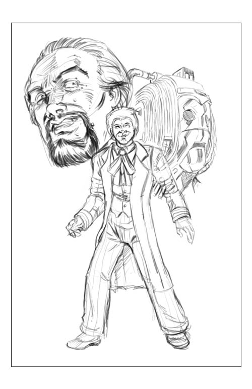 6th Doctor Print WIP by ElfSong-Mat