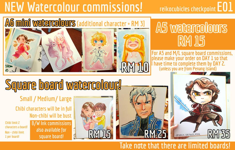 CF2015 Watercolour commissions by asahirureiko