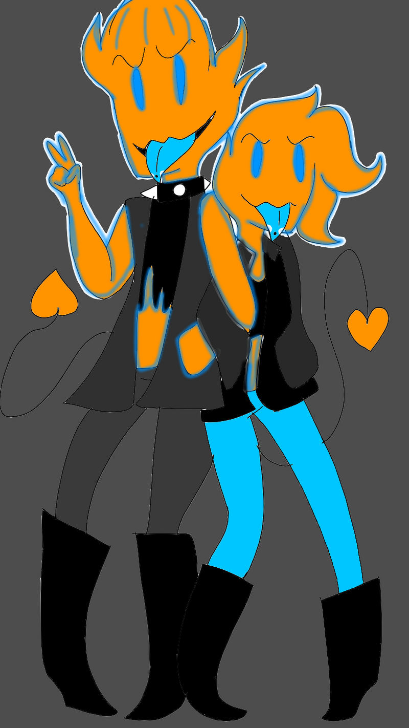 Grilby X Soke kids: Flame and Sam by UndertaleSokemo